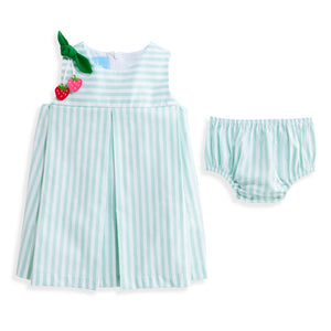 Rachel Strawberry Applique Dress - Green Wide Oxford Stripe