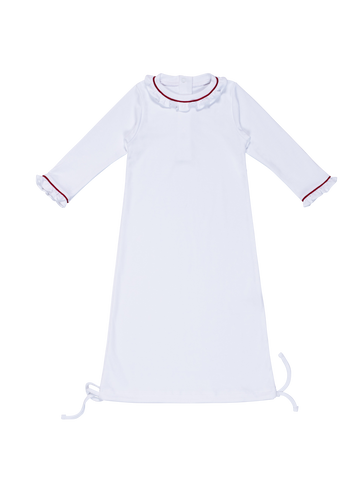 Georgia Day Gown - White with Red Piping