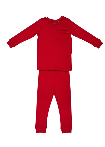 Bradford Two Piece Pajama Set - Red with White Piping