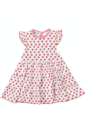Fresh Strawberries Printed Flutter Dress