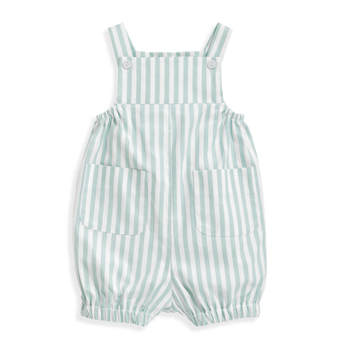 Harrison Romper - Green Wide Oxford Stripe
