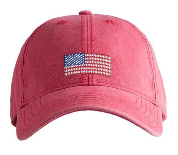 American Flag on Weathered Red Kids Hat