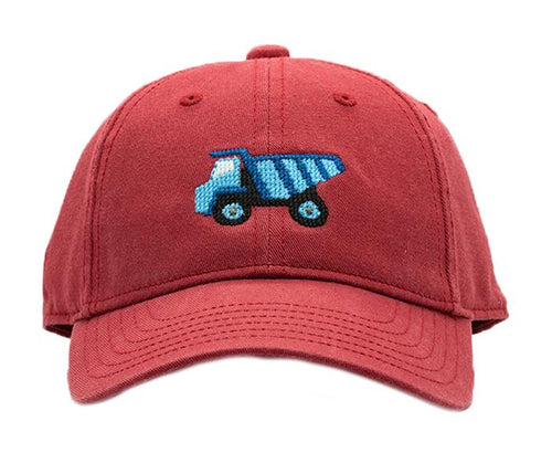 Dump Truck on Weathered Red Kids Hat