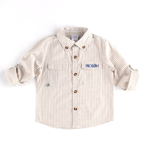 Gingham Button Down Shirt - Silver Lining Oyster
