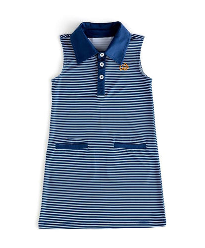 Gameday Performance Dress - Navy Stripe with Orange Embroidery