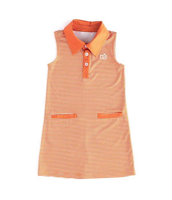 Gameday Performance Dress - Orange Stripe Dress with White Embroidery