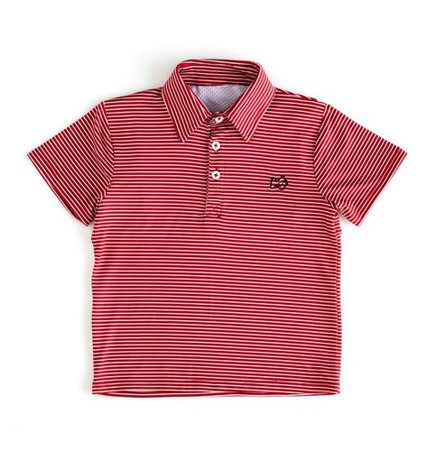 Gameday Polo - Chilli Pepper Stripe with Black Embroidery