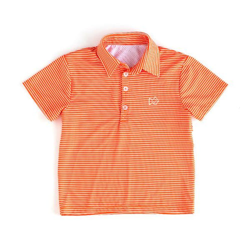 Gameday Performance Polo - Orange Stripe with White Embroidery