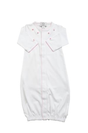Pima Converter Gown - White with Pink Rosebuds