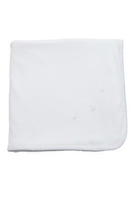 Proper Pima Blanket - White with Blue Stitch