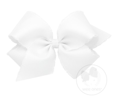 White with White Moonstitch Bow
