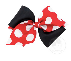 Red and Black Dot Print Bow