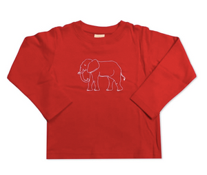 Elephant Long Sleeve Tee - Red