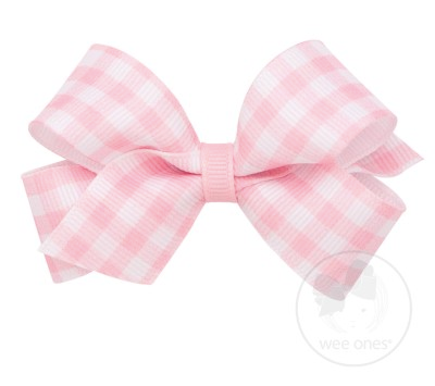 Light Pink Gingham Print Grosgrain Bow