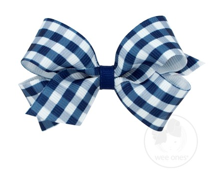 Navy Gingham Print Grosgrain Bow