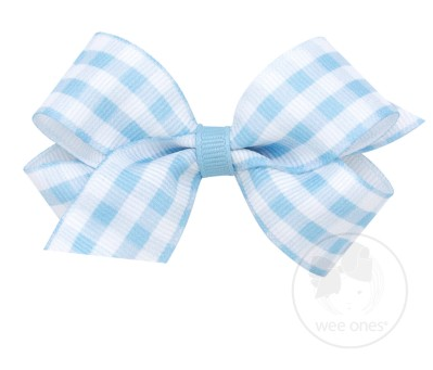 Blue Gingham Print Grosgrain Bow