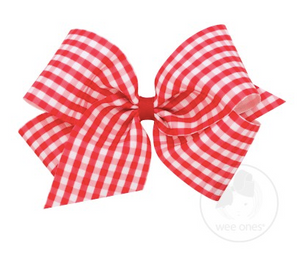Red Gingham Print Grosgrain Bow