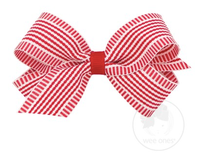 Red Nautical Stripe Bow