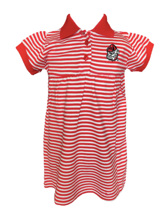 Red and White Stripe Game Day Dress - UGA