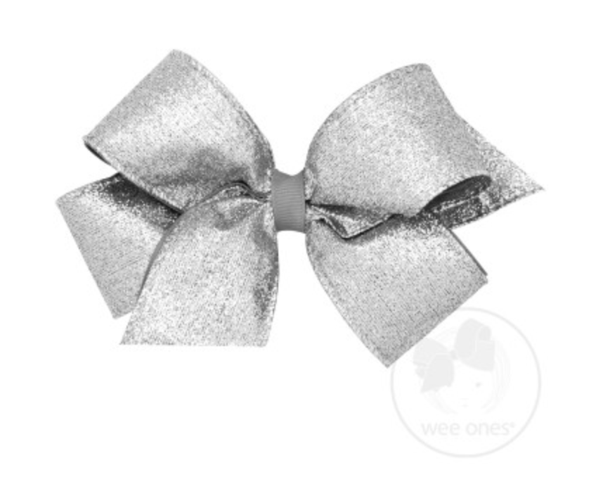 Silver Party Glitter Bow