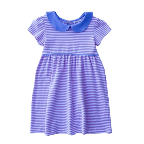 Peter Pan Collar Dress - Pink Stripe with Light Blue