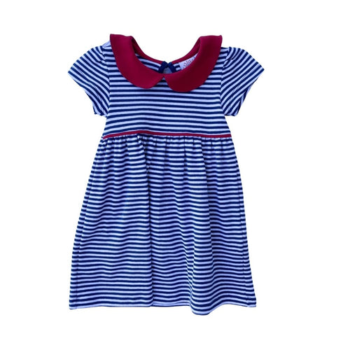Peter Pan Collar Dress - Navy Stripe with Red