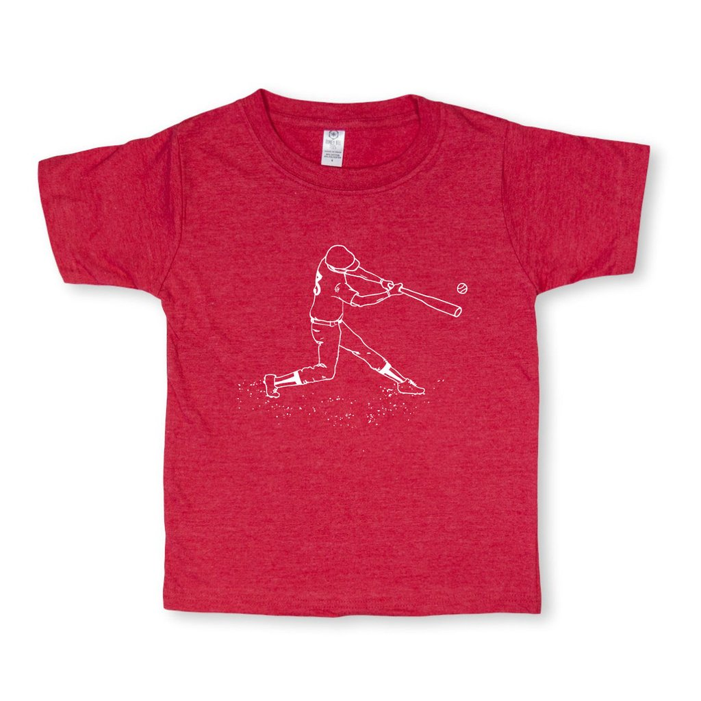 Baseball Player Short Sleeve Tee - Vintage Red