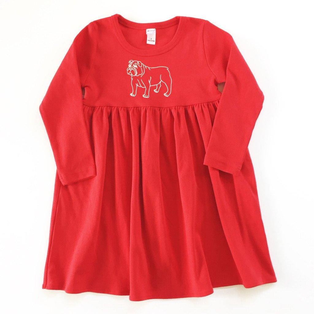 Bulldog Long Sleeve Dress - Red