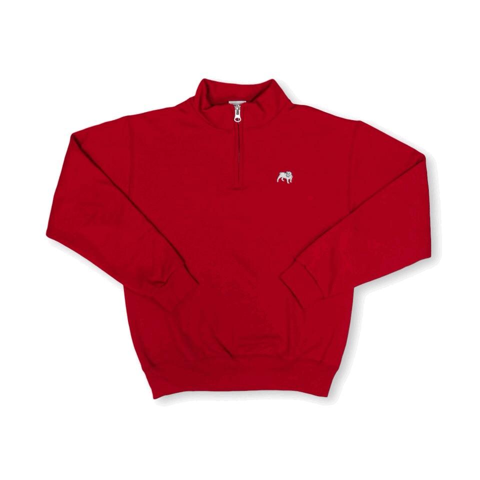 Bulldog 1/4 Zip Sweatshirt - Red