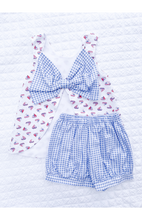 Lottie Bow Back Banded Short Set - Sailboats