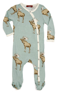 Bamboo Footed Romper - Bow Tie Moose