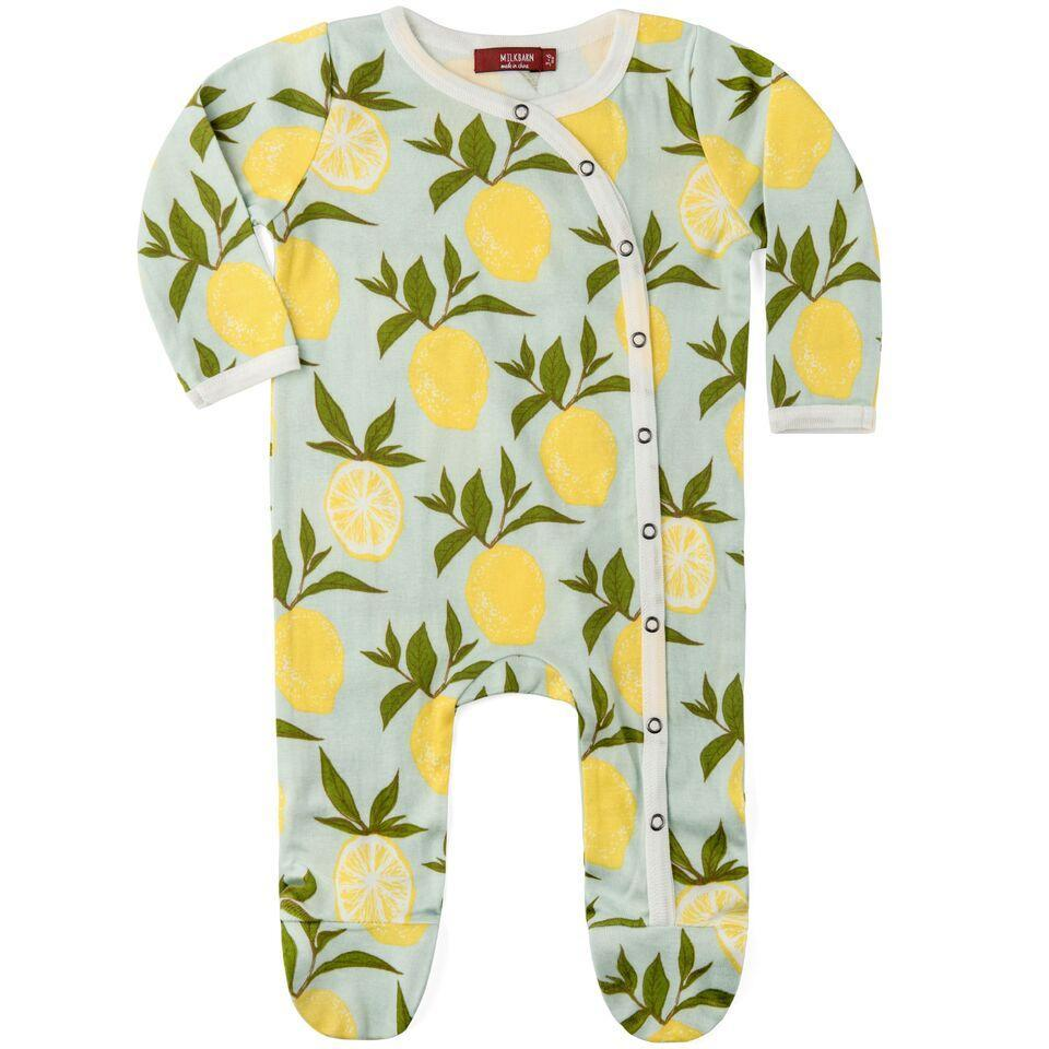 Footed Romper - Blue Lemon