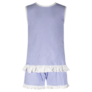 Poppy Short Set - Blue and White Stripes