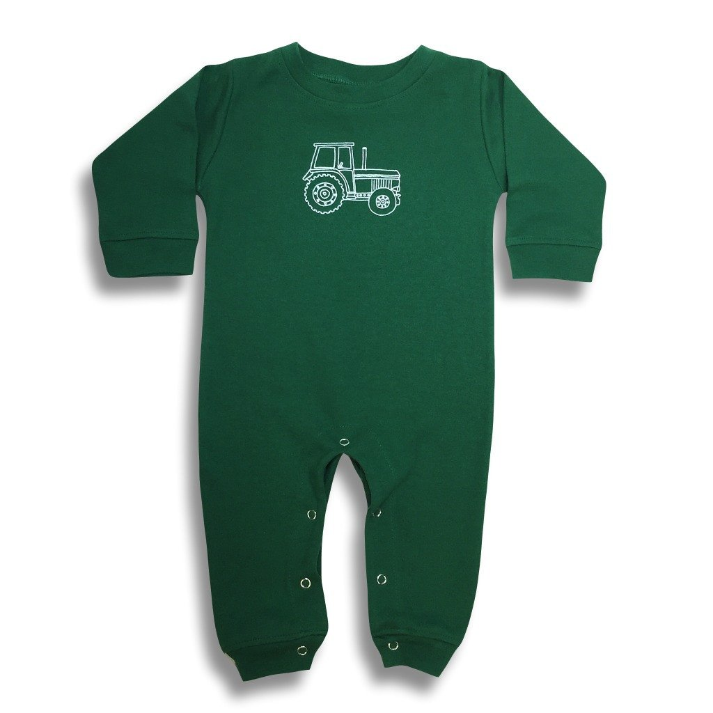 Big Green Tractor Long Sleeve Romper - Green