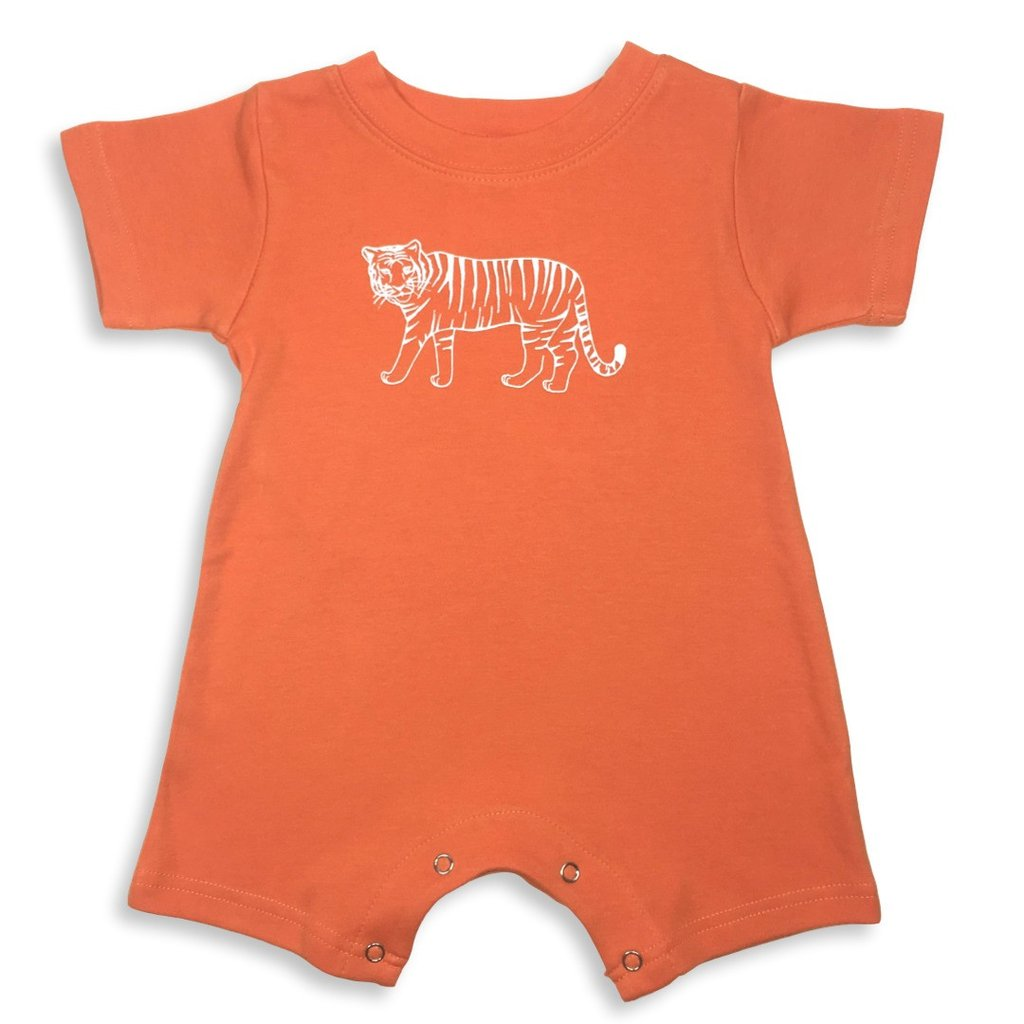 Tiger Short Sleeve Infant Romper - Orange