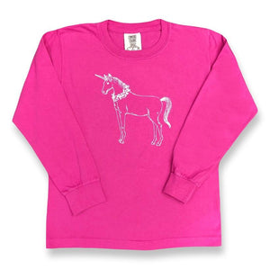 Unicorn Long Sleeve Tee - Raspberry