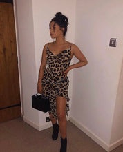 Load image into Gallery viewer, Leopard print frill midi dress