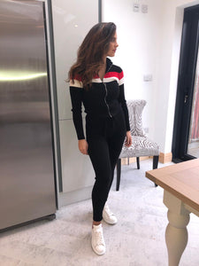 Two stripe fine knit fitted tracksuit