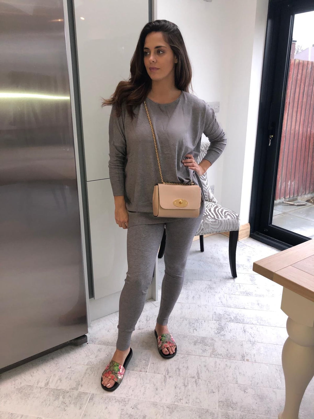 Light soft knit loungewear (grey)