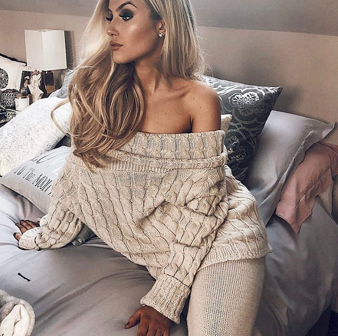 Knitted off the shoulder loungewear (beige)