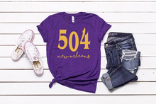 Load image into Gallery viewer, 504 New Orleans NOLA Unisex Purple T-shirt