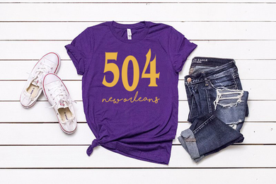 504 New Orleans NOLA Unisex Purple T-shirt