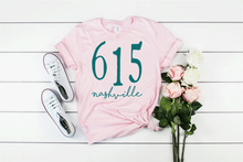 Load image into Gallery viewer, 615 Area Code Nashville TN Unisex Soft Pink Tee