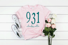 Load image into Gallery viewer, 931 Area Code Clarksville TN Unisex Soft Pink Tee