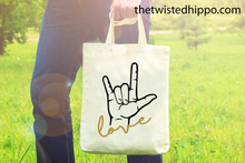 Load image into Gallery viewer, ASL Love - Sign Language -  Canvas Tote Bag