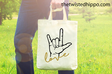 ASL Love - Sign Language -  Canvas Tote Bag