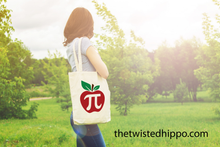 Load image into Gallery viewer, Apple Pi - Math Teacher - Teacher Appreciation Canvas Tote Bag