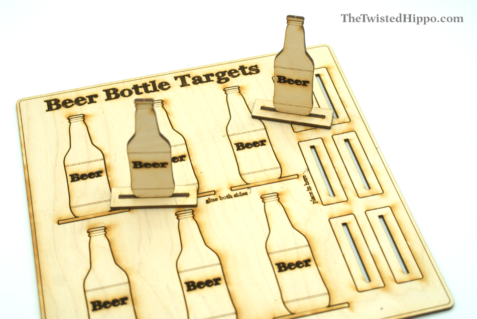Laser Cut Wooden Rubber Band Gun Beer Bottle Target DIY Kit