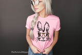 Hipster Bunny with Animal Print Glasses - Easter Pink T-shirt - Spring -  Rabbit