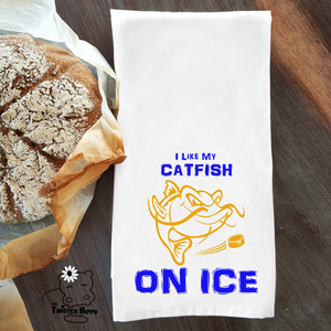 Nashville Hockey I Like My Catfish on Ice Dish/ Hand Towel Housewarming Gift